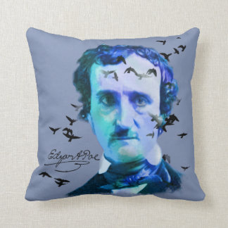 Edgar Allan Poe in Shades of Blue with Ravens Throw Pillow