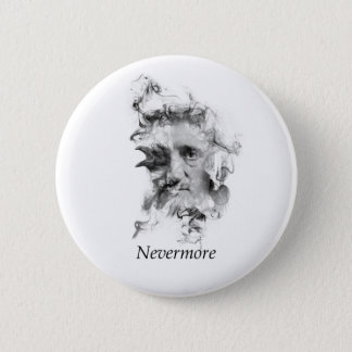 Edgar Allan Poe in Smoke with Raven - Nevermore 6 Cm Round Badge