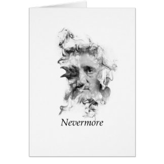 Edgar Allan Poe in Smoke with Raven - Nevermore Card