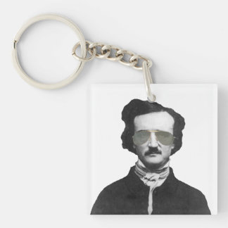 Edgar Allan Poe in Sunglasses Square Acrylic Key Chain