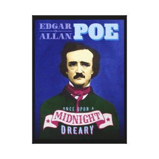 Edgar Allan Poe Raven Quote and Portrait Stretched Canvas Print