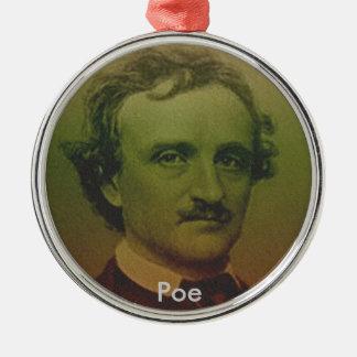 Edgar Allan Poe Silver-Colored Round Decoration