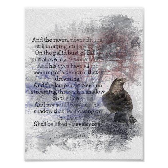 Edgar Allan Poe The Raven Poem Raven Watercolor