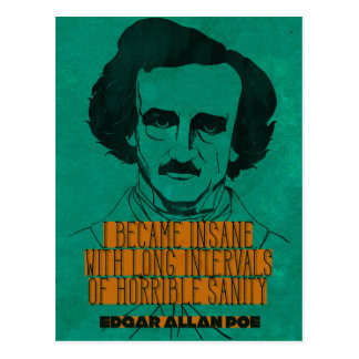 Edgar Allen Poe '...Horrible Sanity' postcard