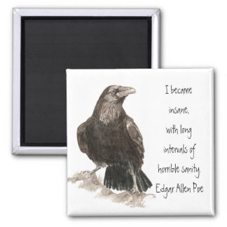Edgar Allen Poe Insanity Quote Watercolor Raven Magnet