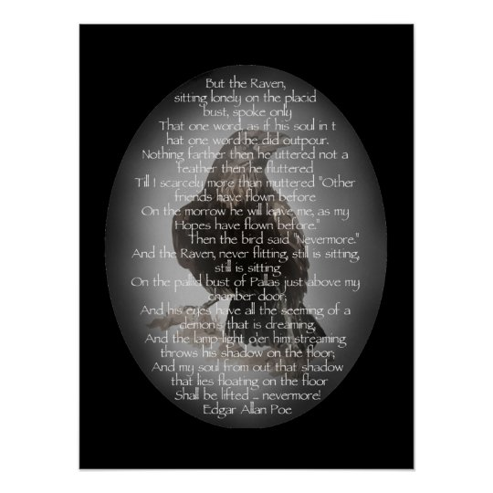 Edgar Allen Poe Raven Poem, Nevermore Quote Poster