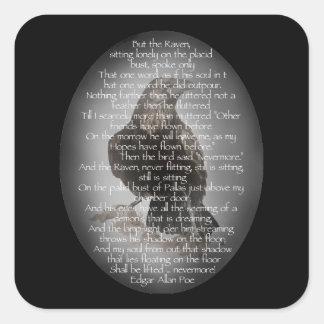 """Edgar Allen Poe """"The Raven"""" Halloween Poem bird Square Sticker"""