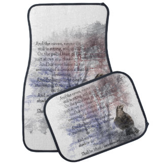 "Edgar Allen Poe ""The Raven"" raven bird Halloween Car Mat"