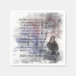 "Edgar Allen Poe ""The Raven"" raven bird Halloween Disposable Napkins"
