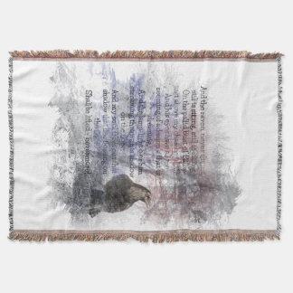 """Edgar Allen Poe """"The Raven"""" raven bird Halloween Throw Blanket"""