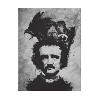 """Edgar Allen Poe Wrapped Canvas 18"""" x 24"""", 1.5"""" Stretched Canvas Print"""