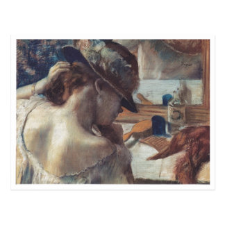 Edgar Degas - At Mirror 1899 Pastel Paper dancer Postcard