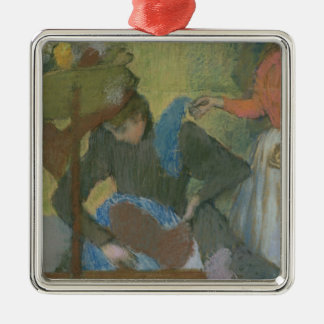 Edgar Degas | At the Milliner's, c.1898 Silver-Colored Square Decoration
