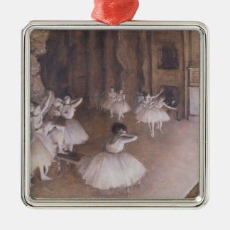 Edgar Degas | Ballet Rehearsal on the Stage, 1874 Silver-Colored Square Decoration