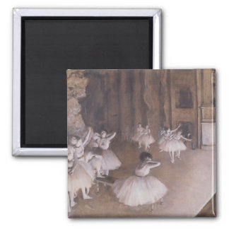 Edgar Degas | Ballet Rehearsal on the Stage, 1874 Square Magnet