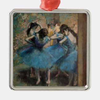 Edgar Degas | Dancers in blue, 1890 Silver-Colored Square Decoration
