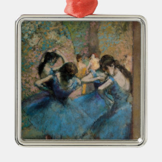 Edgar Degas   Dancers in blue, 1890 Silver-Colored Square Decoration