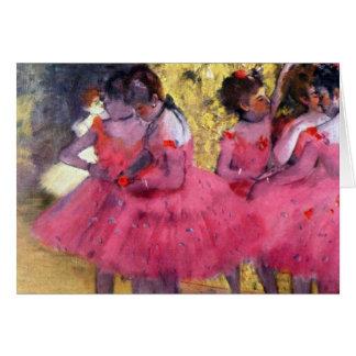 Edgar Degas - Dancers in pink between the scenes Card