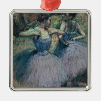 Edgar Degas | Dancers in Violet Silver-Colored Square Decoration