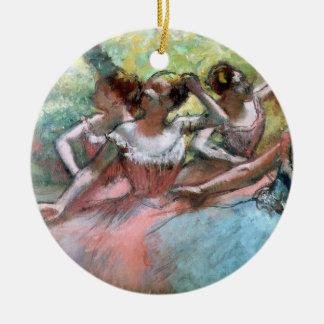 Edgar Degas   Four ballerinas on the stage Round Ceramic Decoration