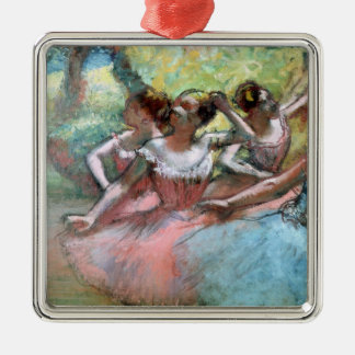 Edgar Degas | Four ballerinas on the stage Silver-Colored Square Decoration