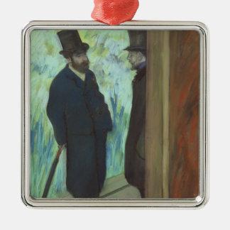 Edgar Degas | Friends at the Theatre Silver-Colored Square Decoration