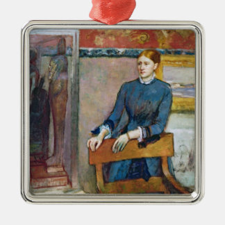 Edgar Degas | Helene Rouart in her Father's Study Silver-Colored Square Decoration