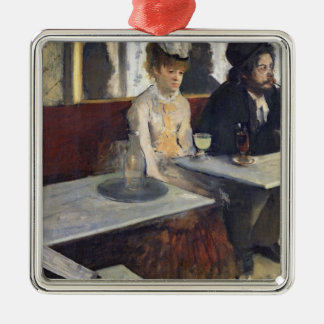 Edgar Degas | In a Cafe, or The Absinthe Silver-Colored Square Decoration