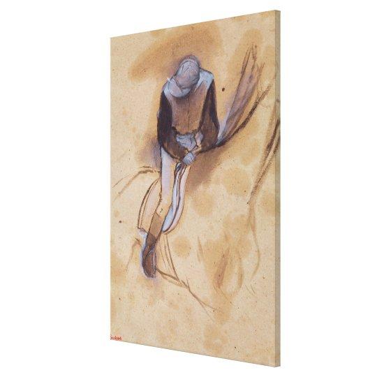 Edgar Degas | Jockey flexed forward standing Canvas Print