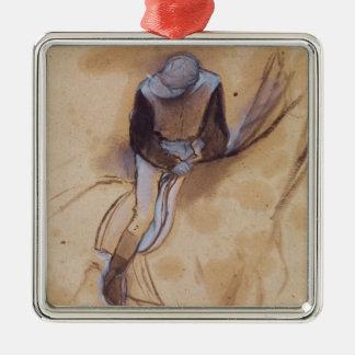 Edgar Degas | Jockey flexed forward standing Silver-Colored Square Decoration