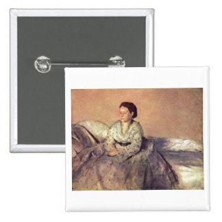Edgar Degas - Portrait Madame Rene de Gas 1872-73 15 Cm Square Badge