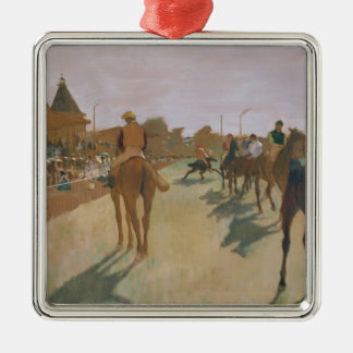 Edgar Degas | Race Horses in front of the Stands Silver-Colored Square Decoration