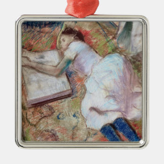 Edgar Degas | Reader Lying Down, c.1889 Silver-Colored Square Decoration