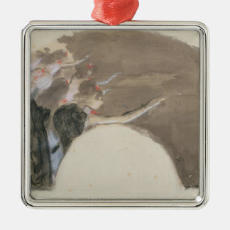 Edgar Degas | Sketch for a fan, c.1879 Silver-Colored Square Decoration