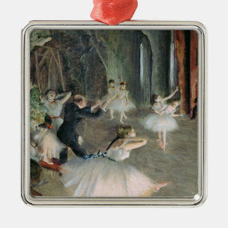 Edgar Degas   The Rehearsal of the Ballet on Stage Silver-Colored Square Decoration