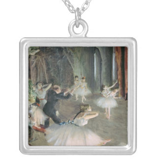Edgar Degas | The Rehearsal of the Ballet on Stage Silver Plated Necklace