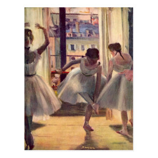 Edgar Degas - Three dancers in a practice room Postcard