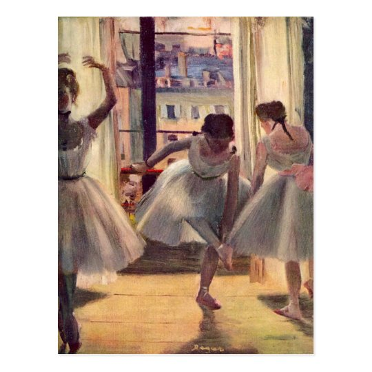 Edgar Degas - Three dancers in a practice room Postcard