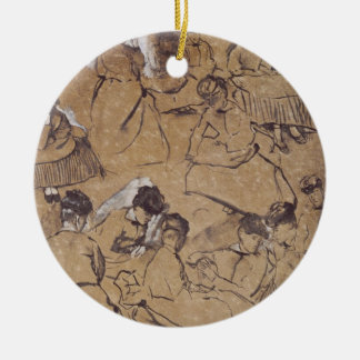 Edgar Degas | Twelve studies of women in costume Christmas Ornament