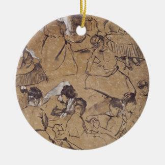 Edgar Degas   Twelve studies of women in costume Round Ceramic Decoration