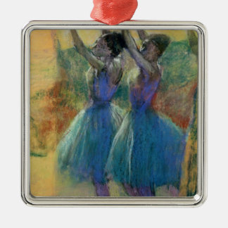 Edgar Degas | Two Blue Dancers Silver-Colored Square Decoration