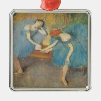 Edgar Degas | Two Dancers at Rest, Dancers in Blue Silver-Colored Square Decoration