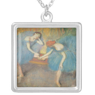 Edgar Degas | Two Dancers at Rest, Dancers in Blue Silver Plated Necklace