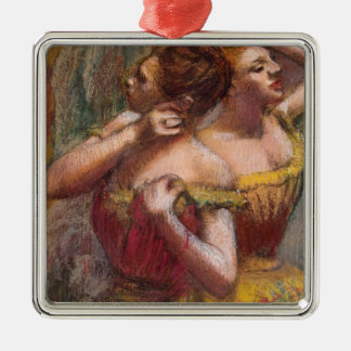 Edgar Degas | Two Dancers Silver-Colored Square Decoration