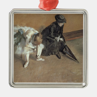 Edgar Degas | Waiting, c.1882 Silver-Colored Square Decoration