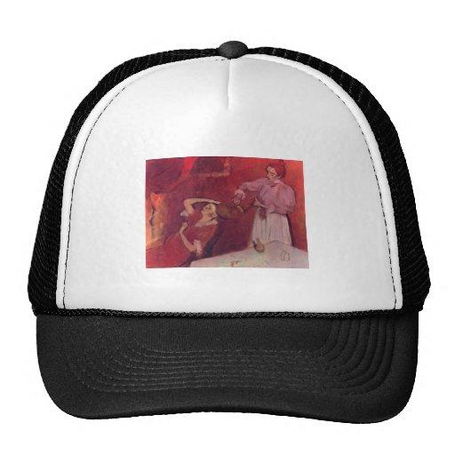 Edgar Degas - When Haarkammen Canvas Red Rouge Cap