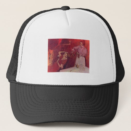 Edgar Degas - When Haarkammen Canvas Red Rouge Trucker Hat