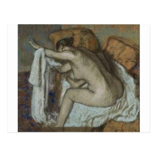 Edgar Degas - Woman Drying Left Arm 1884 Pastel Postcard