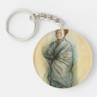 Edgar Degas:Woman in Blue,Mlle. Helene Rouart Keychains