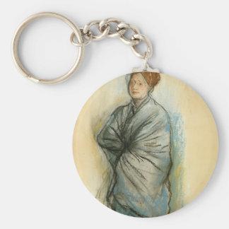 Edgar Degas:Woman in Blue,Mlle. Helene Rouart Keychain